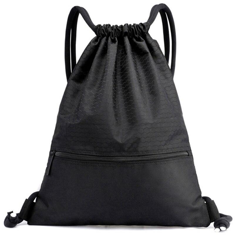 Outdoor Women Men Nylon Black Ultralight Backpack Football Basketball Bag String Drawstring Hunting Hiking Gym Sport Bags(Big)