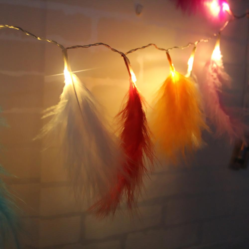 Feather LED String Fairy Light Battery Operate Ins Girls Bedroom Curtain Decoration Light Christmas Wedding Party Decor Lamp