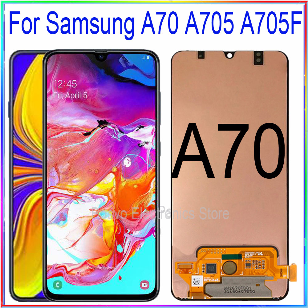 for <font><b>Samsung</b></font> <font><b>A70</b></font> <font><b>LCD</b></font> screen display A705 A705F A705W A705FN/DS with touch with frame assembly Replacement repair parts image