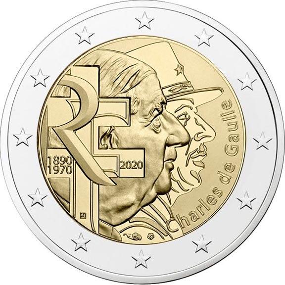 França 2020 130th aniversário de charles de gaulle 2 euro bimetálico moeda comemorativa real moedas originais verdadeiro euro unc