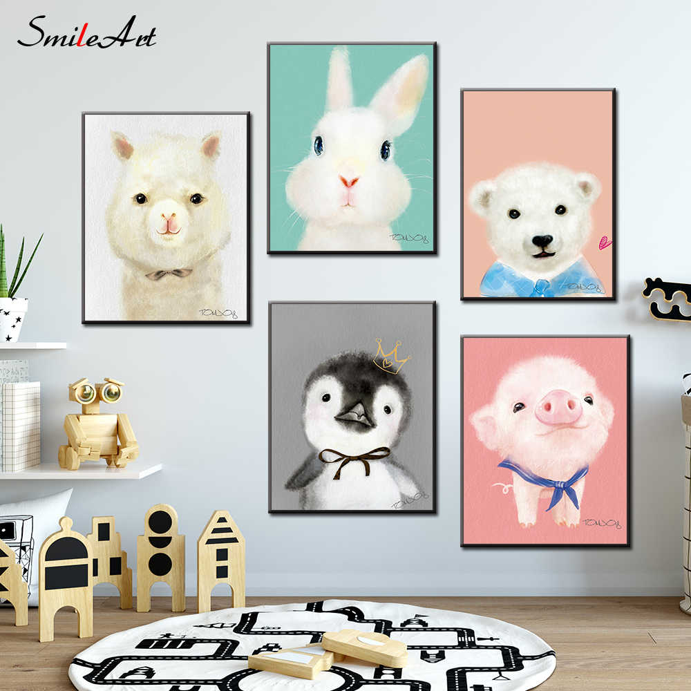 Cartoon Style Animals Canvas Print Large Wall Art Posters Wall Pictures for Living Room Kids Room
