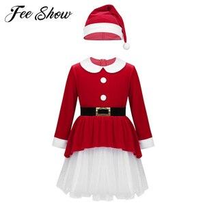 Image 1 - אדום ילדי בנות חג המולד שמלות רך קטיפה ארוך שרוולי חגורת רשת שמלה עם כובע סט ילדי סנטה קלאוס קוספליי חג המולד שמלה