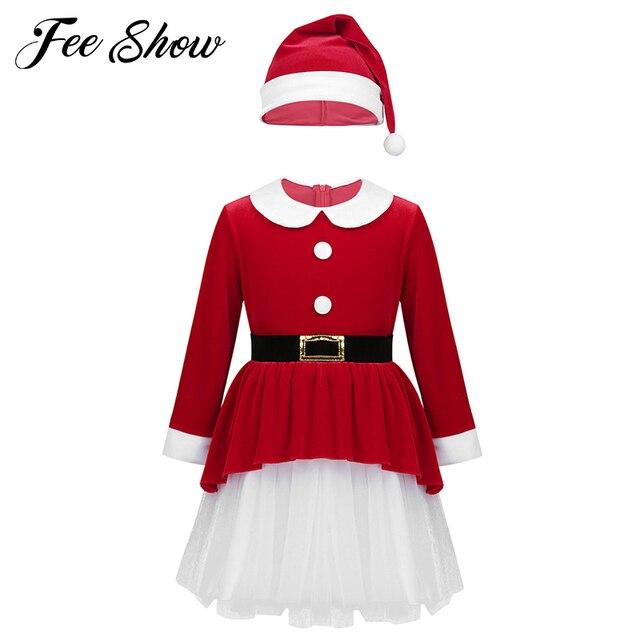 אדום ילדי בנות חג המולד שמלות רך קטיפה ארוך שרוולי חגורת רשת שמלה עם כובע סט ילדי סנטה קלאוס קוספליי חג המולד שמלה