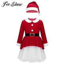Red Kids Girls Xmas Dresses Soft Velvet Long Sleeves Belt Mesh Dress with Hat Set Children Santa Claus Cosplay Christmas Dress