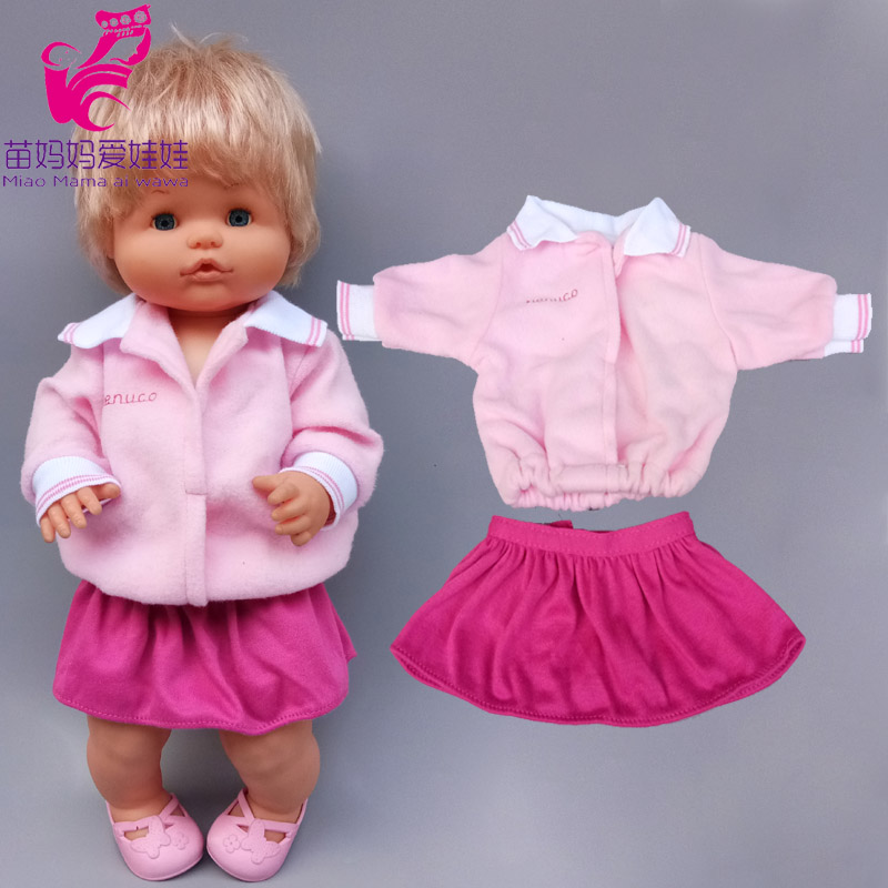 16 inch baby <font><b>doll</b></font> Dress suitable for <font><b>40</b></font> <font><b>cm</b></font> baby <font><b>doll</b></font> <font><b>clothes</b></font> skirt and headwear 3 in 1 set Ropa y su Hermanita image