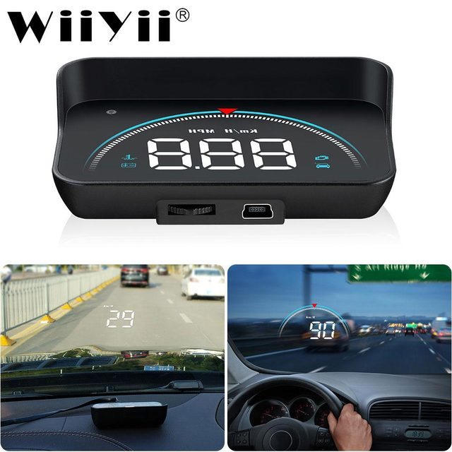 M8 Car HUD Head Up Display OBDHUD 3.5 Inch New OBD Temperature Overspeed RPM Warning Voltage Alarms Colorful LED Screen Display