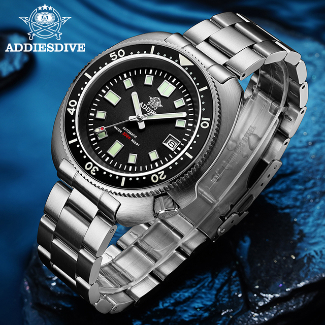 ADDIES Abalone Men NH35 Automatic Dive Watch 200M Waterproof Sapphire Crystal Stainless Steel  Mechanical Mens Watch
