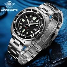 Addie أذن البحر الرجال NH35 التلقائي ساعة الغوص 200 متر مقاوم للماء الياقوت الكريستال الفولاذ المقاوم للصدأ الميكانيكية ساعة رجالي