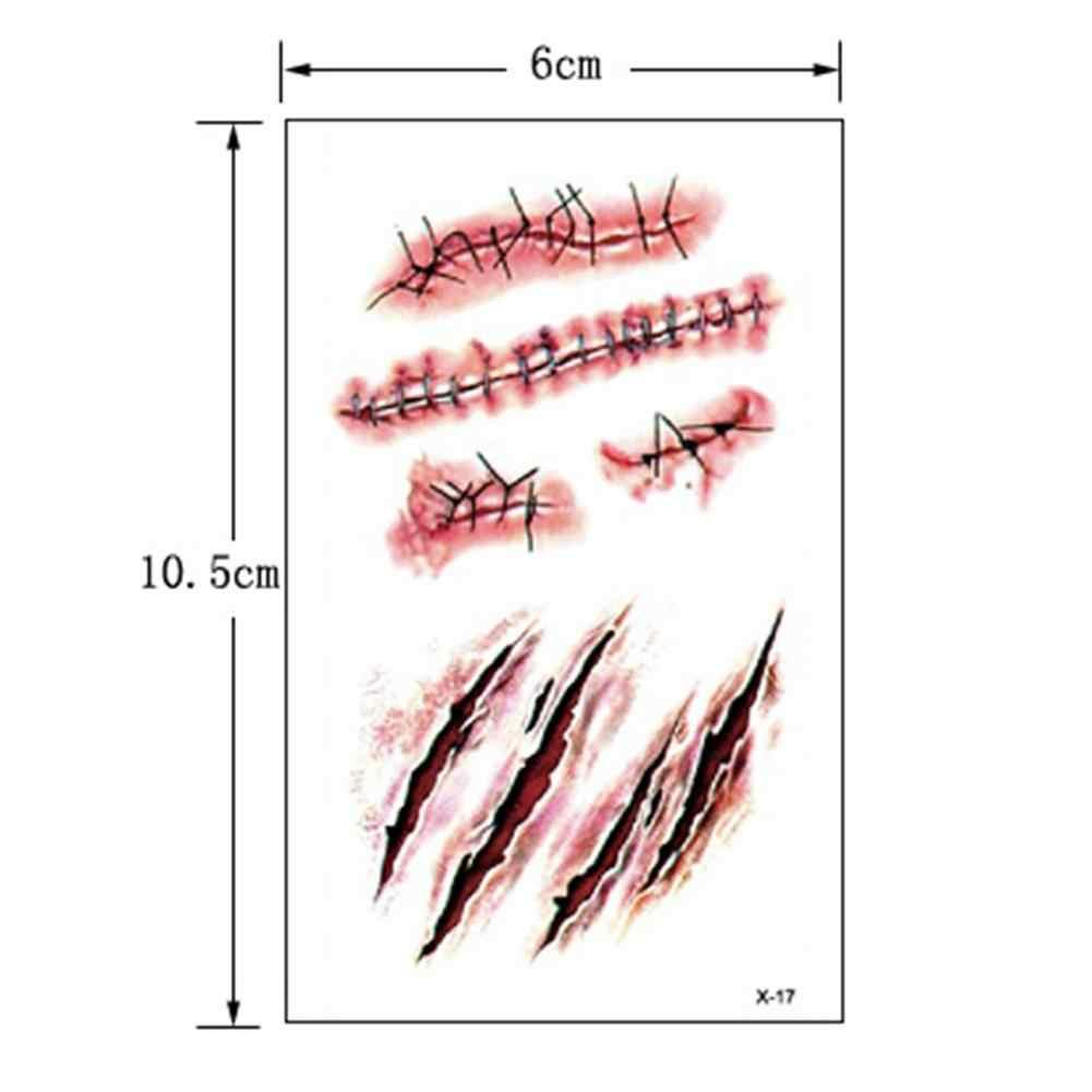 Autoadesivo Del Tatuaggio temporaneo Impermeabile Istante Cucita Ferita Spaventoso Cicatrici Conveniente Autoadesivo Del Tatuaggio Per Decorazione Di Halloween Nuovo Adesivo