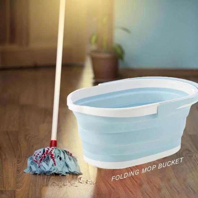 Foldable Mop Bucket Portable Wash Basin Dishpan Footbath Collapsible for Bathroom Kitchen Home