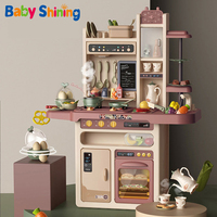 Baby Shining Kids Kitchen Toys 65pcs Pretend Play Simulation Kitchen Children's Cooking Toys 2 4 Years Kitchen Toys Set
