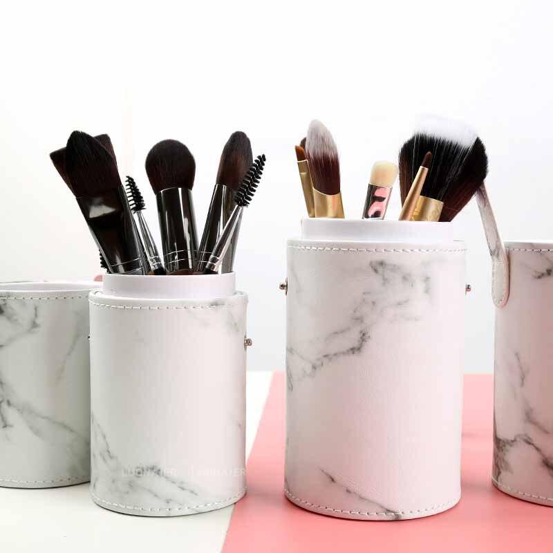 Портативные дорожные кисти для макияжа, Круглый держатель для ручек, косметический чехол из искусственной кожи, держатель для кистей, органайзер для хранения, Прямая поставка|Ящики и баки для хранения|   | АлиЭкспресс