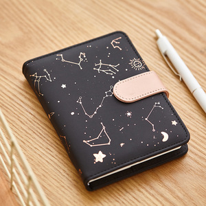 Notebook Agenda Planner Starry sky pattern A6 Small diary Fullyear Planner Undated Daily&Monthly Plan Leather Agenda 2020 2021