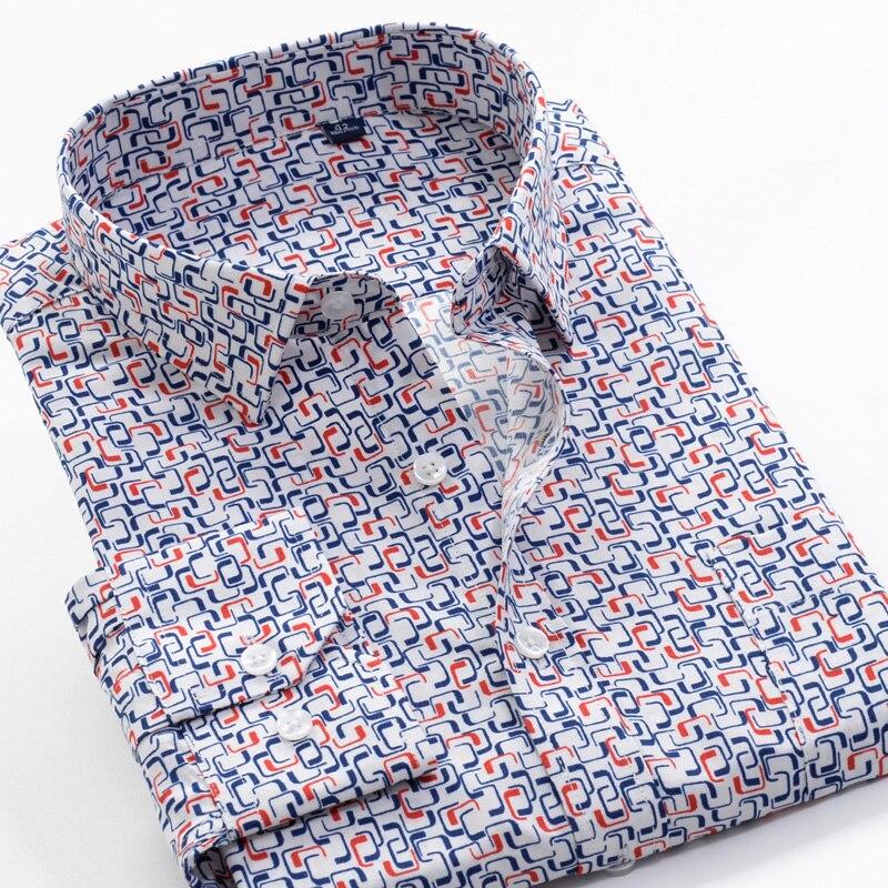 6XL 7XL 8XL 9XL 10XL SHANBAO бренд большой размер Мужская Осенняя Повседневная рубашка с длинными рукавами принт с геометрическим узором Классическая ...
