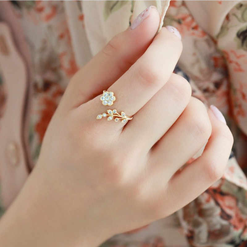 2019 new fashion adjustable ring gold and silver flowers and branch finger rings for women's anniversary wedding ring