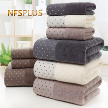 Cotton Bath Towel Set for Bathroom 2 Hand Face Towels 1 Bath Towel for Adult White Brown Grey Terry Washcloth Travel Sport Towel cheap NFS PLUS CN(Origin) dobby Knitted Other approx 600 (g) T-911 Machine Washable 5s-10s Solid 100 Cotton Yarn Dyed approx 70x140 (cm)