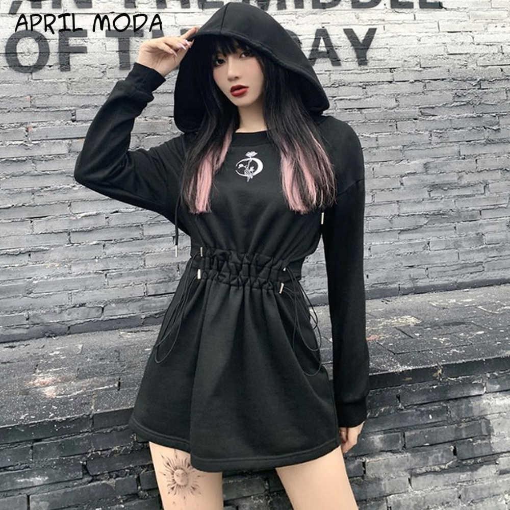 2020 harajuku gothic schwarz hoodies kleid streetwear punk rose drucken  lange hülse mit kapuze kleid frauen herbst hohe taille kleider neue