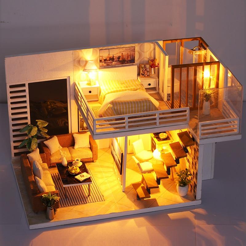 Simple and Elegant Doll House DIY 3D Miniatures Dollhouse Furniture Kits Toys Miniaturas Loft House With Led Light Dust Cover