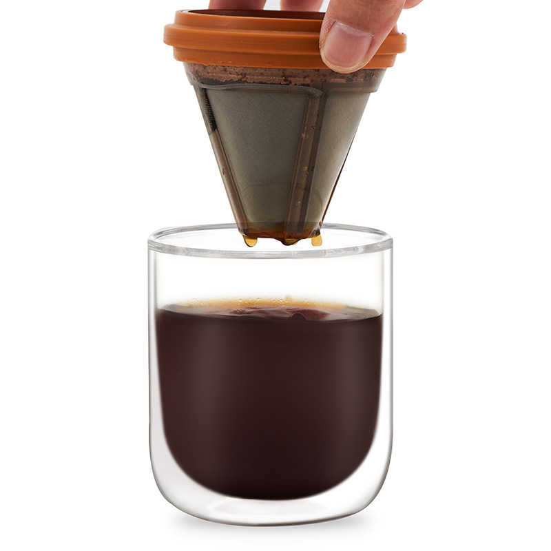 صغيرة المحمولة بالتنقيط إبريق قهوة المشروب أقداح قهوة زجاجية وعاء المنزلية الحصري كأس Percolator الفولاذ المقاوم للصدأ لا حاجة تصفية البرتقال