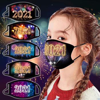European and American children boys and girls New Year Fireworks printing washable mask dust mask warm going out image