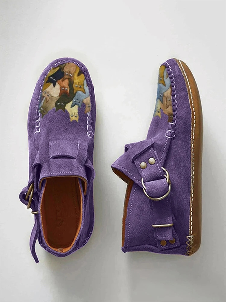 Plover 2020 Winter New Female Comfort Cartoon Cat Printed Leather Button Casual Flat Ankle Boots   6 Purple
