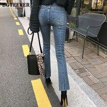 BGTEEVER Casual Hohe Taille Denim Flare Jeans für Frauen 2020 Stilvolle Split Blau Denim Hosen Weibliche Hose Streetwear Pantalon