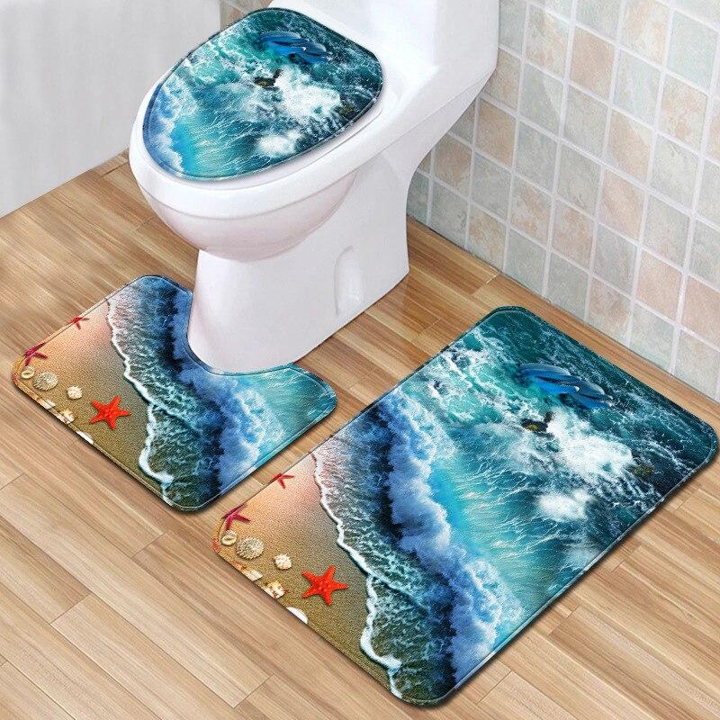 The Wave 3D Bath Mat 3 Piece Bathroom Mat Set 2019 Carpet for Bathroom 45*75cm Doormats Eco-Friendly Rugs for Home Decor