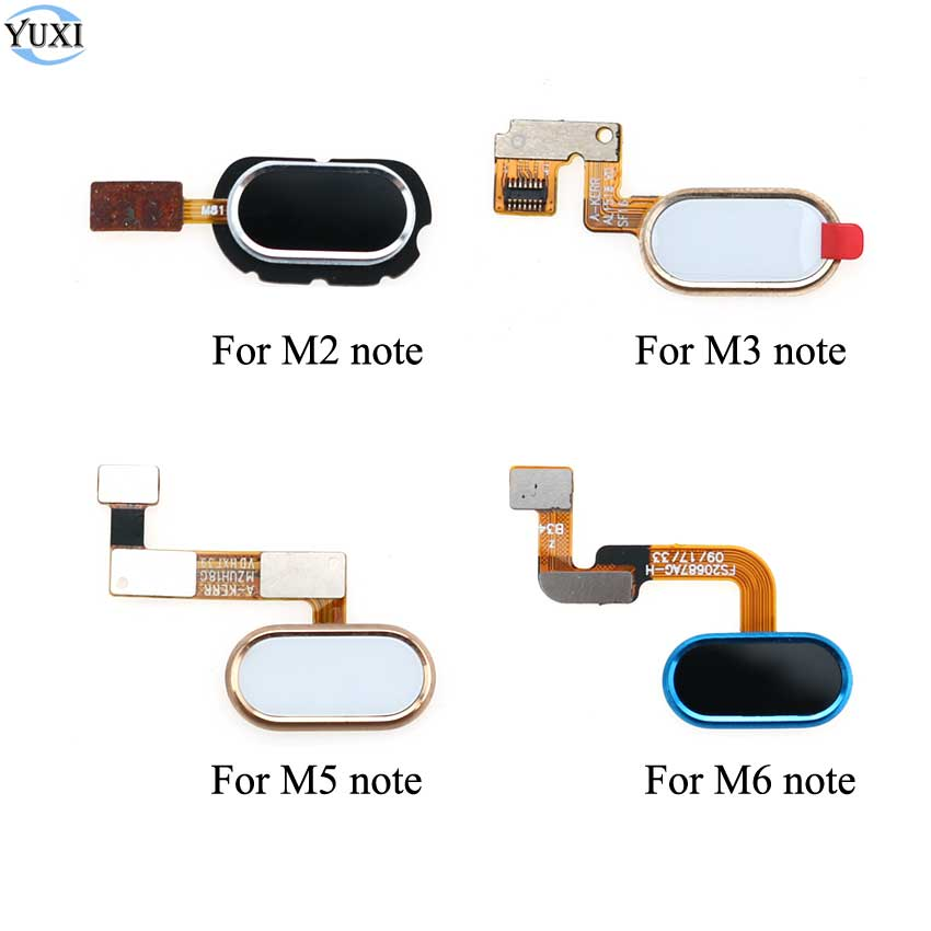 YuXi Home Button Fingerprint Touch ID Scanner Return Sensor Flex Cable For Meizu M2 M3 L681H M5 M6 Note Home Button Replacement