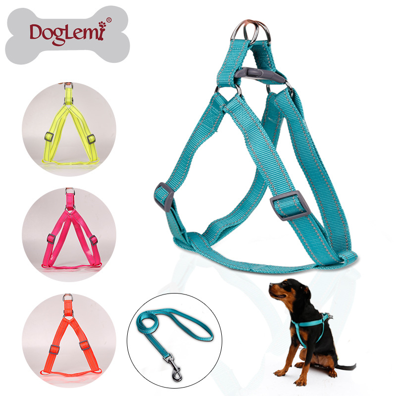 Dole M Fluorescent Reflective Nylon Dog Breast Collar Hand Holding Rope Large Dog Breast Collar With Pet Dog Collar Nylon Dog Ch