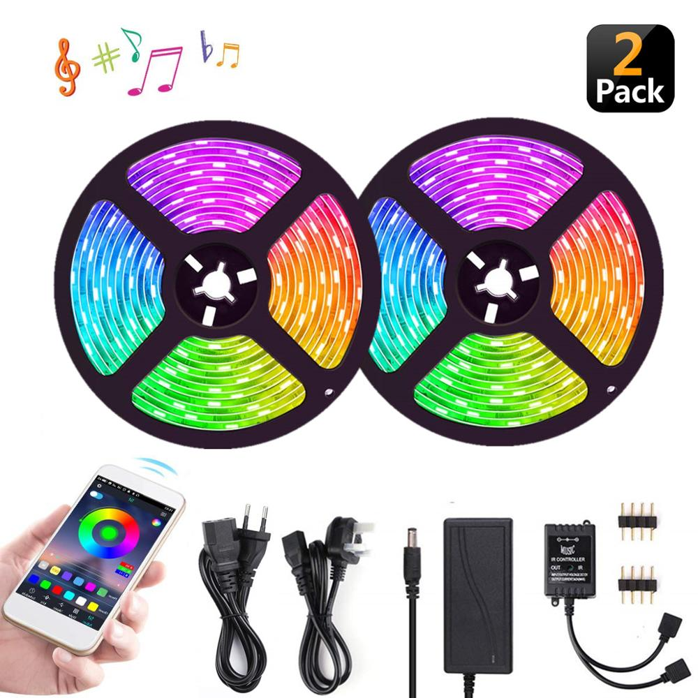 UL LED RGB Multifuntion Strip Light 10M(32.8Ft), Music 5050 Smart Tape Lights,Kit With APP Controller,12V Adapter