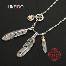 Solid 925 Sterling Silver Feather Necklace For Men Vintage Charms Takahashi Eagle Pendant Eagle Chain New Popular Jewelry P19