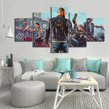 HD Cartoon Picture 5 Piece Grand Theft Auto V Game Poster Artwork Canvas Paintings GTA Games Art Pint Pictures for Wall Decor