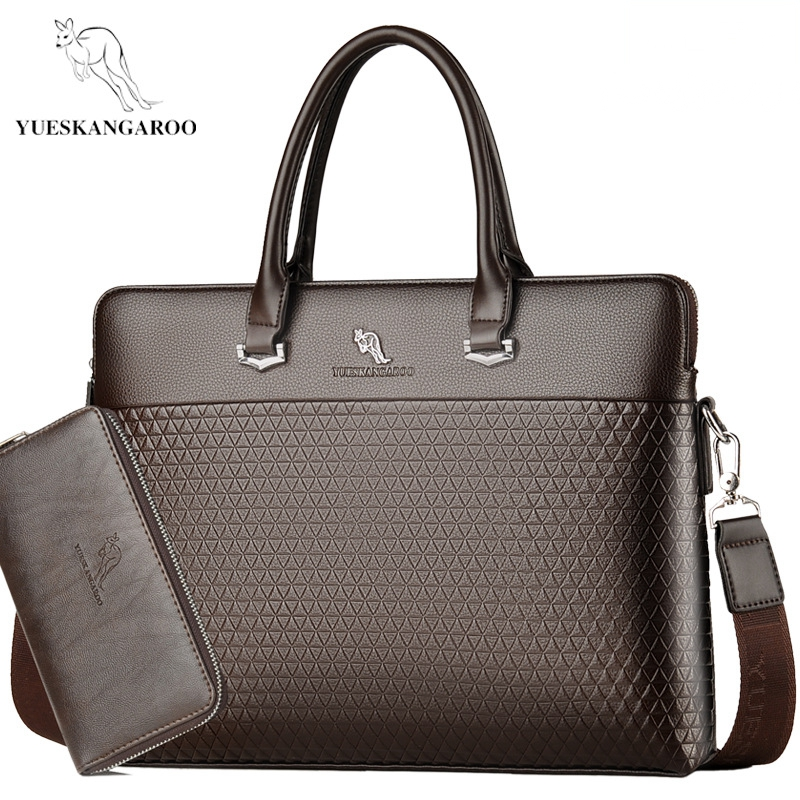 YUES KANGAROO New Leather Men's Briefcase Handbags Fashion Large Capacity Business Bag Tote Black Male Shoulder Laptop Bag