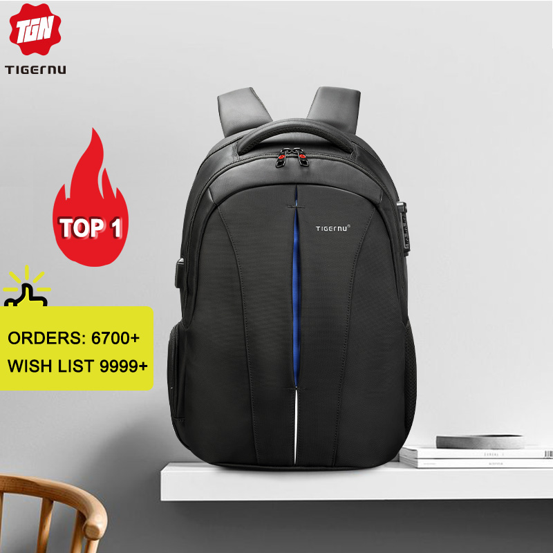 Image 1 - Tigernu Splashproof 15.6inch Laptop Backpack NO Key TSA Anti Theft Men Backpack Travel Teenage Backpack bag male bagpack mochila-in Backpacks from Luggage & Bags