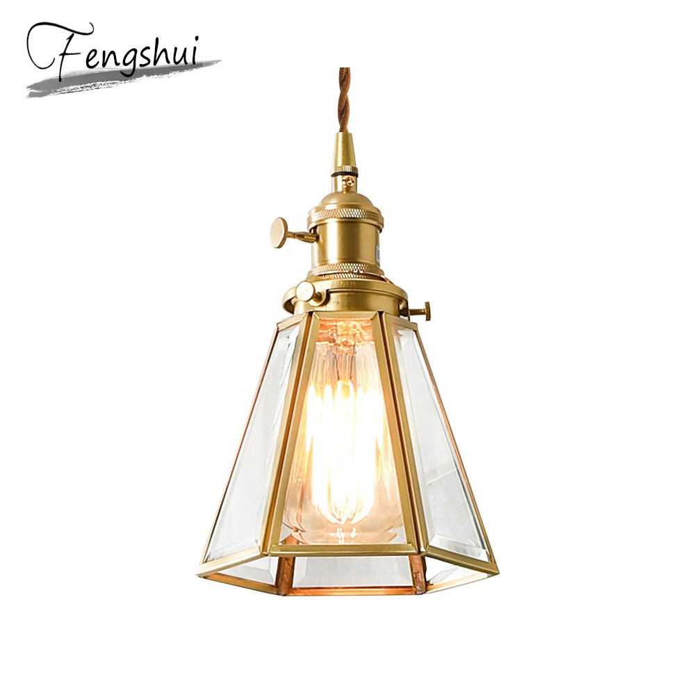 Nordic Copper Glass LED Pendant Lights Lighting Vintage Pendant Lamp Dining Living Room Bedside Bedroom Bar Loft Hanging Lamp