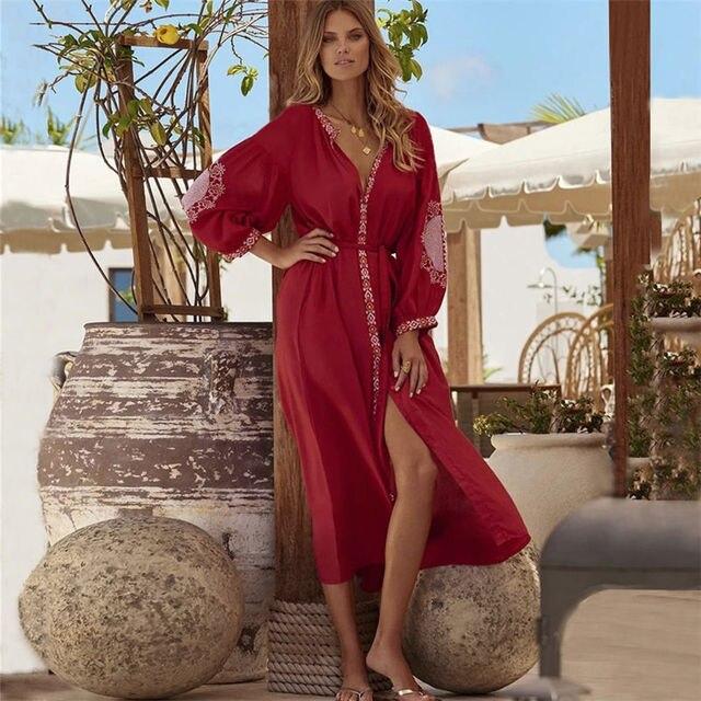 2020 レッドボヘミアン刺繍フロントオープンサマービーチドレス長綿チュニック女性プラスサイズのビーチウェア水着カバーアップQ1010