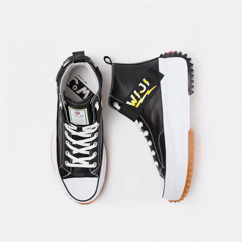 Nouveau haut haut plate forme baskets noir unisexe en cuir véritable semelle épaisse chaussures homme hauteur augmenter chaussures grosses chaussures de marche hommes - 4