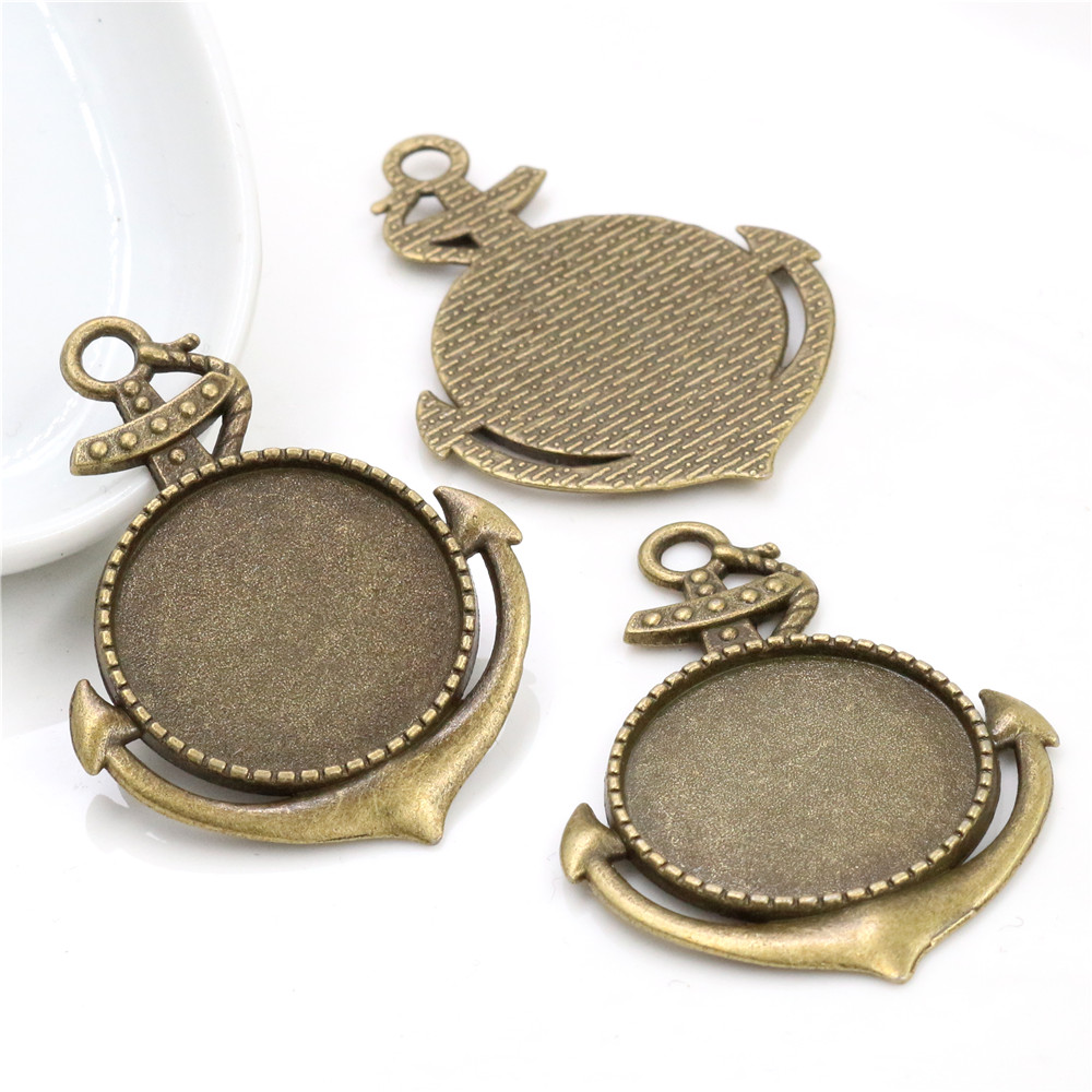 New Fashion  5pcs 25mm Inner Size Antique Bronze Fashion Cabochon Base Setting Charms Pendant (A3-35)