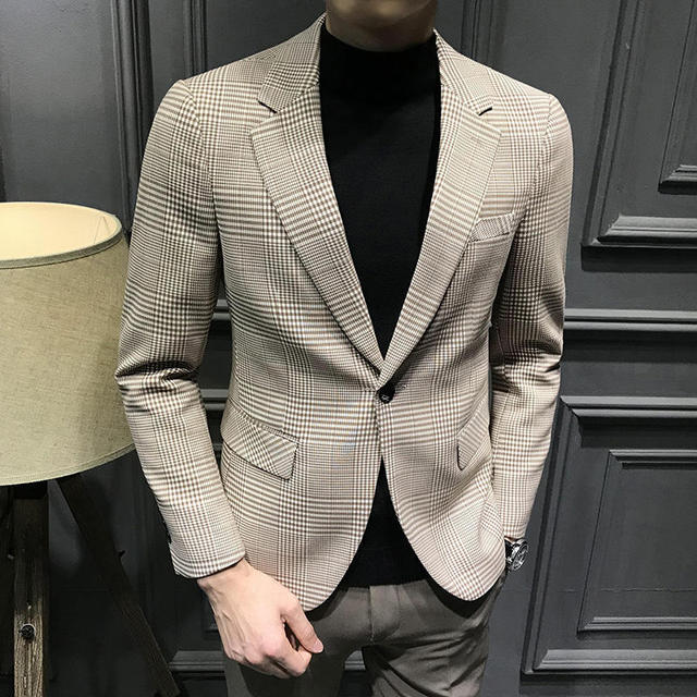 Plaid Blazers Mens Homme Slim Fit