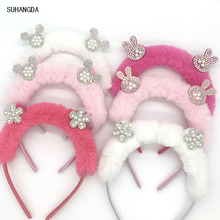 sweet for girls cute rabbit plush hair ball cat ears Rabbit ring ribbon tiara women accessories children Headband