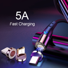 Magnetic Cable USB Type C 5A Fast Charge Transmit Data Wire LED Micro USB Cable For Phone Charging Magnet Cord Type C For Xiaomi oppselve mobile phone cable usb cord magnetic usb type c cable for samsung huawei oppo magnet 5a fast charging wire usb cable c