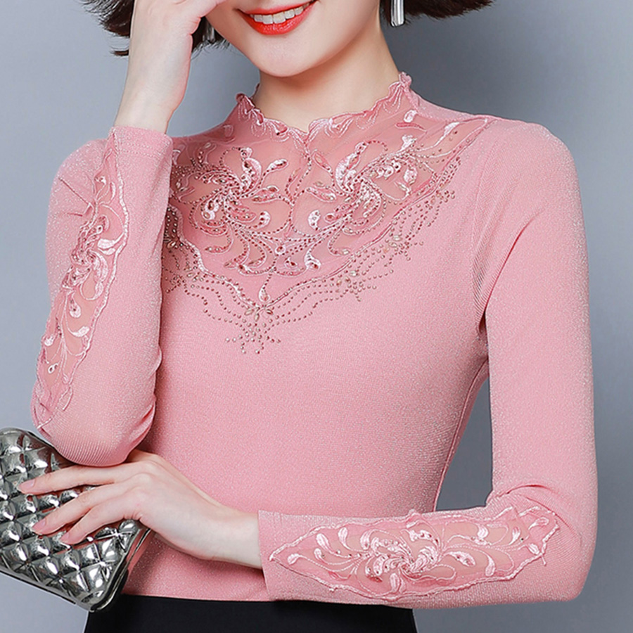 Mesh Blouses Bottoming Shirt 2019 New Autumn Women Long-sleeved Diamonds Plus Size Mesh Blouse Shirt Top Blusas