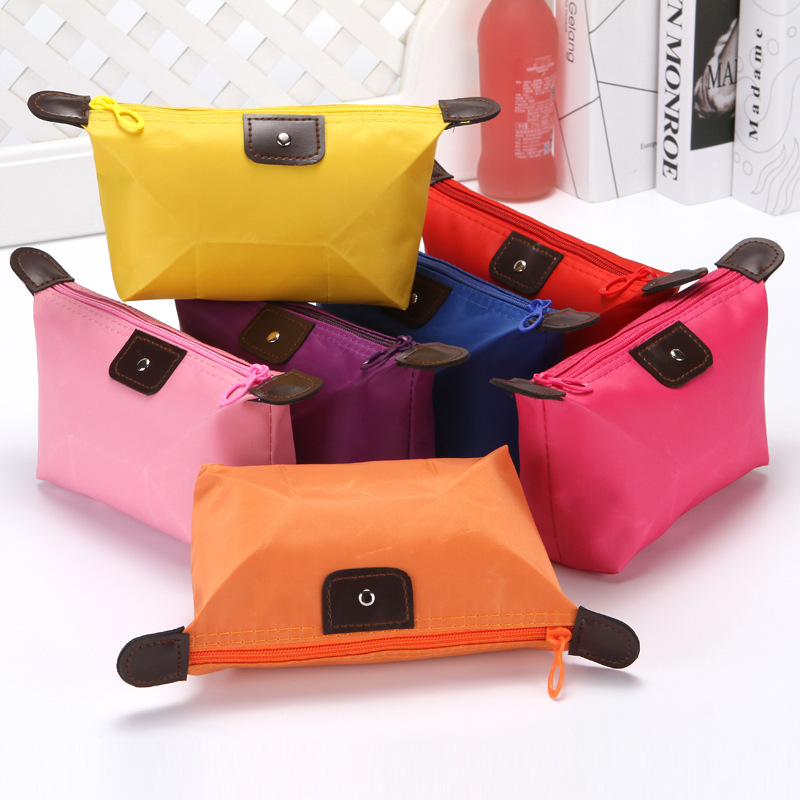 Solid Waterproof Women Men Cosmetic Bags Zipper Makeup Bag Phone Coin Clutch Bag Portable Travel Beauty Wash Organizer Pouch