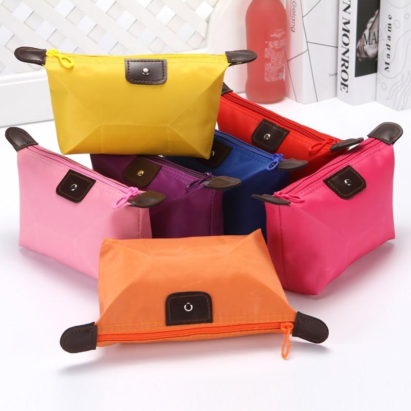 Solid Waterproof Women Men Cosmetic Bags Zipper Makeup Bag Phone Coin Clutch Bag Portable Travel Beauty Wash Organizer Pouch