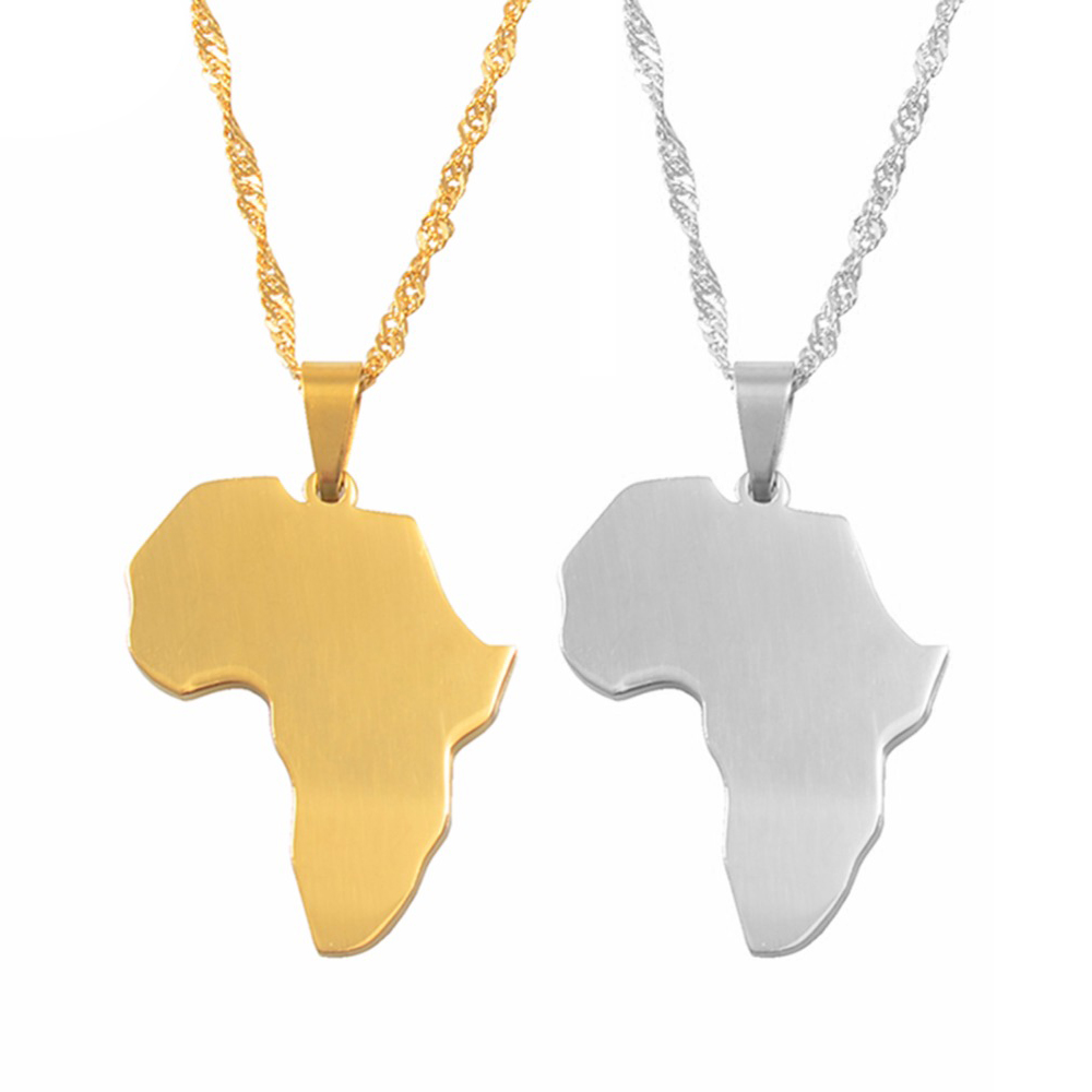 Ethnic Country Jewelry Fashion Africa African Map Necklace Pendant Gold
