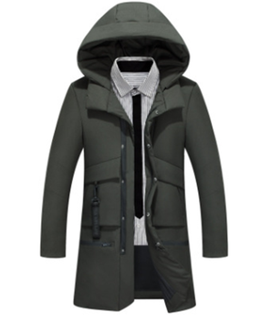 Amazon Hot Mid Long Men Down Jacket Casual Fashion Hooded Thickened Warm Down Jacket Men's Clothing