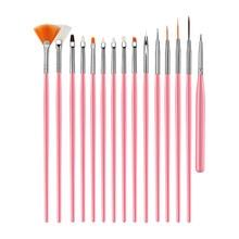 цены 15PCS/Set Gel Polish Brushes Pink Tools Gel Painting Pen Nail Tools Nail Brush Dotting Painting Drawing Pen Nail Art