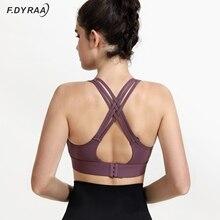 Top Women Sports-Bras Fitness Yoga F.DYRAA Brassiere Crop-Tops Cross-Straps Push-Up Workout