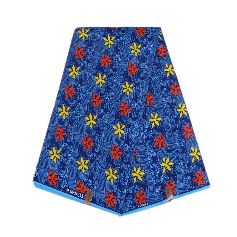 2019 New African Dutch Wax Fabric Blue 100% Polyester African Nigeria Ankara  Wax Red&Yellow Flower Printed