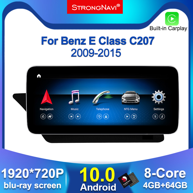 12.5inch 1920*720P Android 10 Car dvd radio GPS Navigation player for Benz E Class Coupe W207 A207 C207 2009-2015 4G WIFI BT